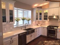 shaker cabinets with cup pulls kitchen cabinets with windows love the big window deep sill white