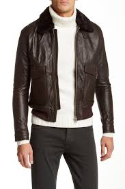 image of the kooples leather moto jacket with genuine lamb shearling collar