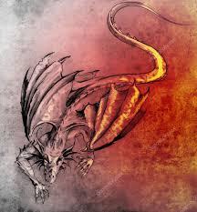 Náčrt Tetování Umění Moderní Drak Stock Fotografie Outsiderzone