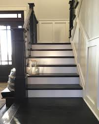 Painted Stairs Modern Farmhouse Painted And Stained Stairs With Brass Lantern