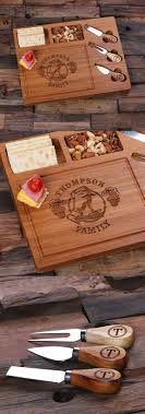 personalized bamboo wood cutting board serving tray with cheese tools