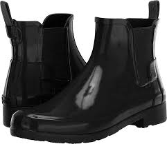 View our chelsea boots, lace ups and work boots in leather and suede. Amazon Com Hunter Womens Original Refined Chelsea Gloss Wellingtons Ankle Rain Boot Black 10 Ankle Bootie