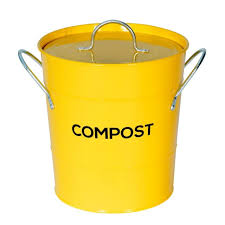 yellow compost caddy with inner bucket kitchen compost bin metal pail