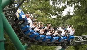 people riding verbolten roller coaster at busch gardens in williamsburg virginia