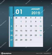 Calender Design Template January 2019 Calendar Leaf Flat Design Monthly Calendar Design