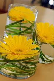 3 Flower Vases. Yellow Flower CenterpiecesGerbera ...