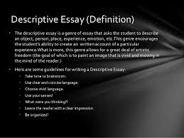 the types of essays tutorial 4 descriptive essay