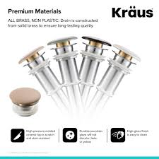 kraus pop up drain with porcelain ceramic top for bathroom sink without overflow