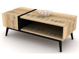 Table basse bois noir table salon verre - Châtellerault