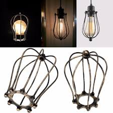 Light Bulb Lamp Shade Holder Us 4 82 22 Off Vintage Iron Wire Bulb Cage Lampshades Hanging Lamp Holder Guard Shade Industry Style Home Light Decoration In Lamp Covers Shades