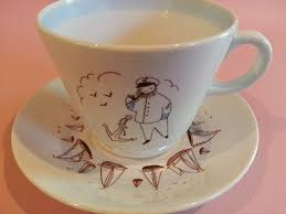 Arabia - Made in Finland - oversized ceramic cup and saucer - sailor w/  anchor