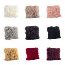 wool lamb fur throw pillow mongolian sheepskin