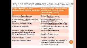 role of project manager vs business analyst ba roles and responsibilities