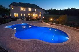 inground pools at night. Free Form Pool With Underwater Lights On. Inground Pools At Night M