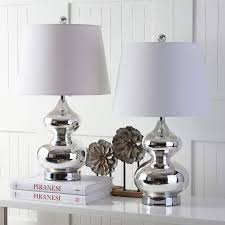 safavieh set of 2 silver gabriel glass table lamps