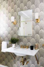 powder room with black and white art deco wallpaper wall mount sink brass on art deco wallpaper for walls with bathroom wallpapers inspiration powder room with black and white
