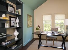 Living Room, Cozy Home Office With Blue Paint Color Scheme Love These Colors  Gray Painted ...