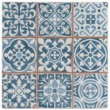 Blue And White Decorative Tiles Splash back of blue and white porcelain tiles Home Bathroom 41