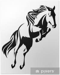 Poster Salto Cavallo Disegno Vettoriale In Bianco E Nero Pixers
