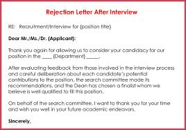 Rejection Letter Sample Amazing Rejection Letters 44 Free Samples Formats For HR