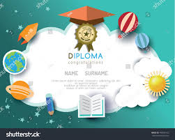 kids diploma preschool certificate elementary school stock vector  kids diploma preschool certificate elementary school design template background vector illustration