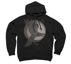 Black Hoodie With Design Design By Humans Raven Mens Graphic Pullover Hoodie