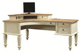 curved half pedestal l shaped desk and corner hutch with 1 drawer