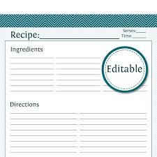 Recipe Template Word Recipe Card Full Page Fillable Printable Pdf Instant