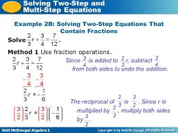 example 2b solving two step equations that contain fractions