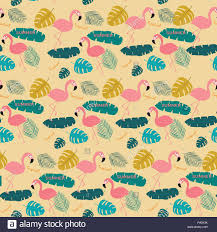 Topical Pattern Gorgeous Summer Pink Pastel Flamingo And Topical Exotic Leaves Pattern