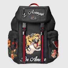 gucci bags for guys. gucci® techpack in black canvas with tiger and floral embroidery gucci bags for guys