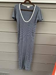 Anthropologie Dress Size Chart Navy Cotton V Neck Long Casual Maxi Dress Size 12 L