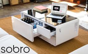 My only criticism is that the drawer at the front isn't exactly flush to the opening, however again this gives it that. Amazon Com Sobro Coffee Table With Refrigerator Drawer Bluetooth Speakers Led Lights Usb Charging Ports For Tablets Laptops Or A Cell Phone Perfect For Parties Or Entertaining White Kitchen Dining