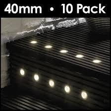 10 X Warm White 40mm Led Outdoor Garden Decking Deck Lights Lighting