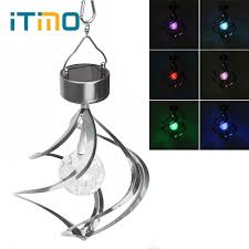 Galaxy Solar Lights Wind Spinner Solar Galaxy Light Wind Chimes Outdoor Lighting Crystal Ball Stainless Steel Garden Decoration Rgb Color Changing