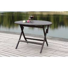 brown rattan round folding patio dining table