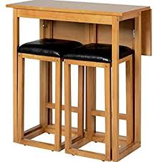 table 2 stools. wooden folding breakfast kitchen bar table with 2 padded seats stools chairs. modern home oak n
