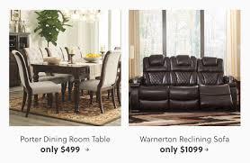 porter dining room table warnerton reclining sofa