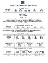 Inseam Size Chart Fillable Online Coldpruf Base Layer Product Line Size Chart