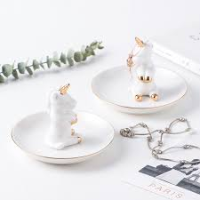 Decorative Cup And Saucer Holders Decorative Unicorn Porcelain Plate Ring Plate Rings Holder 72