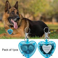 Blinking Lights For Dogs Led Dog Id Tag Heart Shape Dog Collar Clip On Keychain