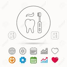 Electric Toothbrush Comparison Chart Brushing Teeth Icon Electric Toothbrush Sign Toothpaste And