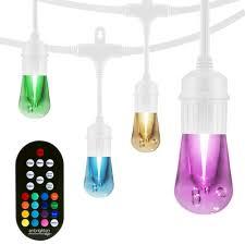 Home Depot Cafe Lights Enbrighten 24 Bulb 48 Ft Vintage Seasons Color Changing