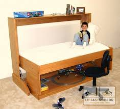 twin-sized hidden desk bed for kids' rooms