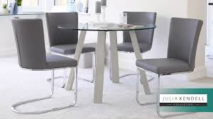 modern 4 seater round glass grey gloss table