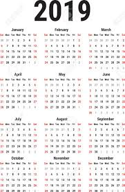 The Year Calendar Calendar For The Year 2019 On White Background Week Starts Sunday