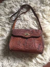 handtooled mexican leather fl bag vintage