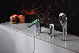 waterfall bathtub faucet set sumerain s2062cm led thermal waterfall bathtub sprayer waterfall bathtub faucet set