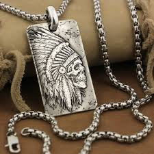999 sterling silver mens biker pendant indian chief skull gothic dogtag 9x022nb