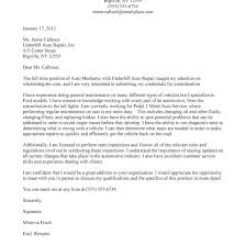 Nice Auto Mechanic Cover Letter For Mechanic Cover Letter Gallery